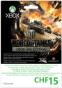 MICROSOFT Xbox Live Guthabenkarte CHF 15.- World Of Tanks